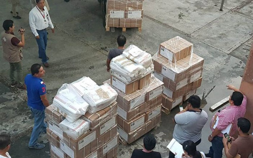Election materials ready for shipping to polling stations.