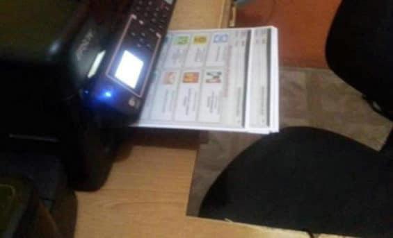 Ballots on a dektop printer in Chiapas.
