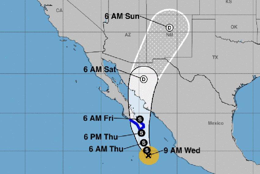 Tropical storm Bud's forecast track.