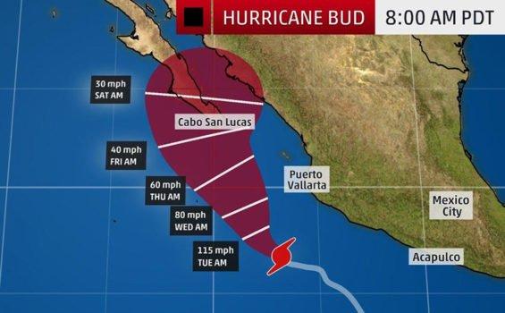 Hurricane Bud's forecast track.