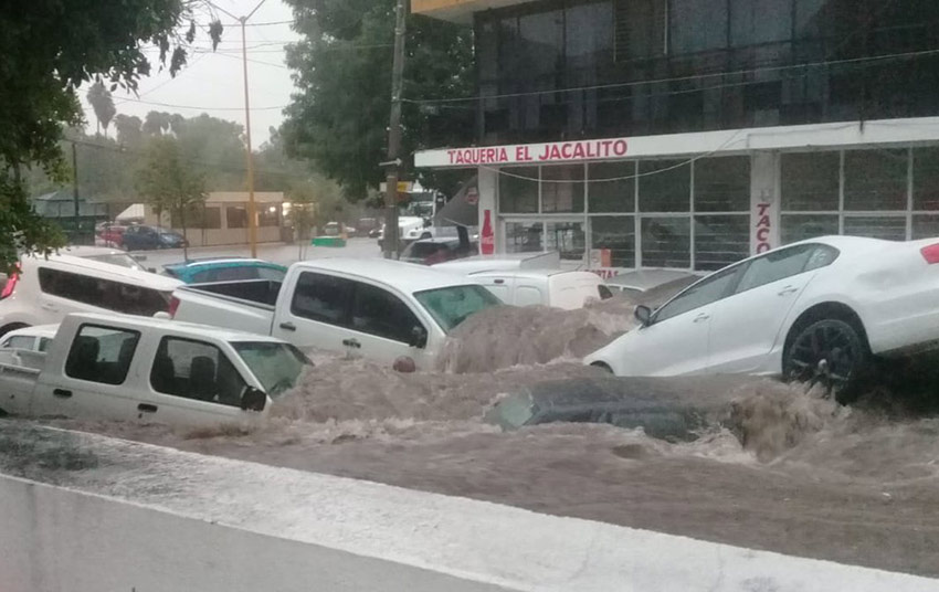 Floodwaters yesterday in Aguascalientes.