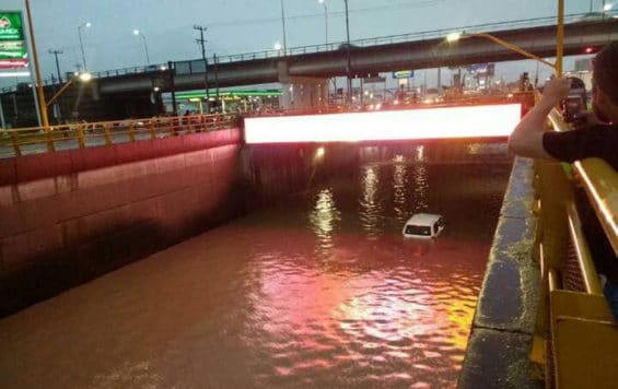 Flooded street in Aguascalientes late yesterday.