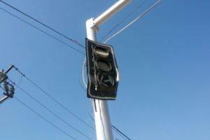 A traffic light in Torreón, Coahuila, melts in the heat.
