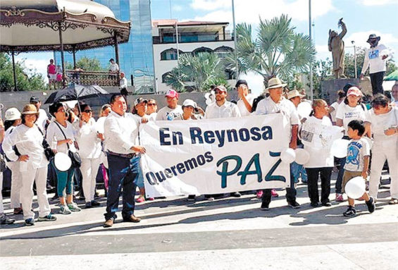 A peace march yesterday in violence-torn Reynosa.