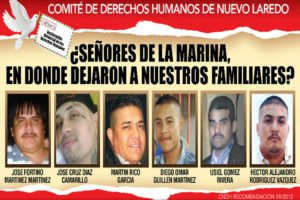 Human rights committee poster asks the navy, 'Where did you leave our family members?'