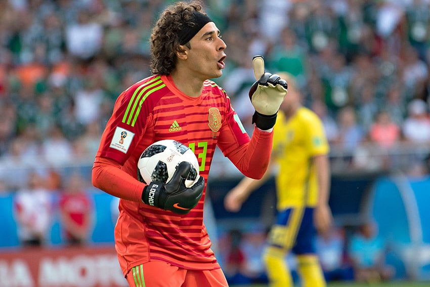 Goalkeeper Ochoa during this morning's game.