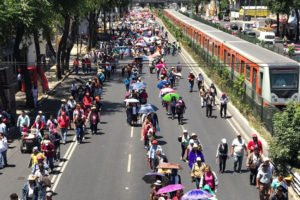Teachers march in Mexico City this morning.