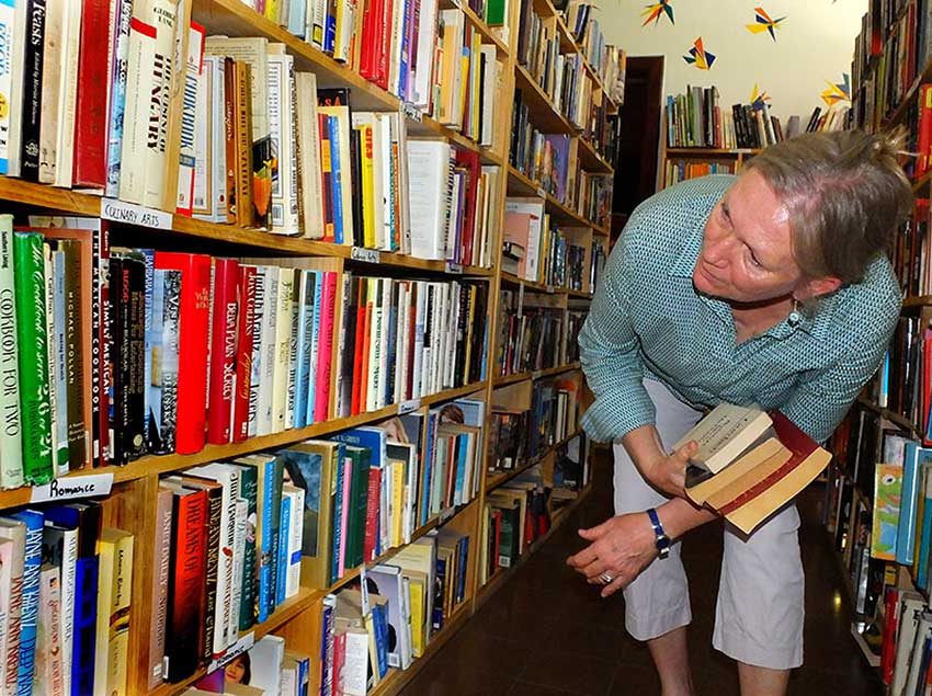Customer hunts for just the right book.