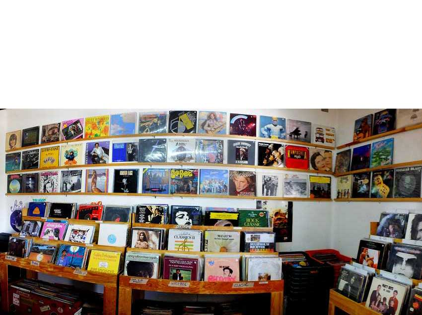 A few of the 10,000 LPs and CDs.