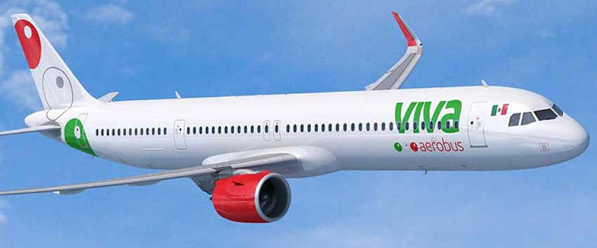 An illustration of Viva's new Airbus A321neo.