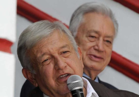 López Obrador announces plans for the energy sector. Behind him is his nominee to head the Federal Electricity Commission, Manuel Bartlett.