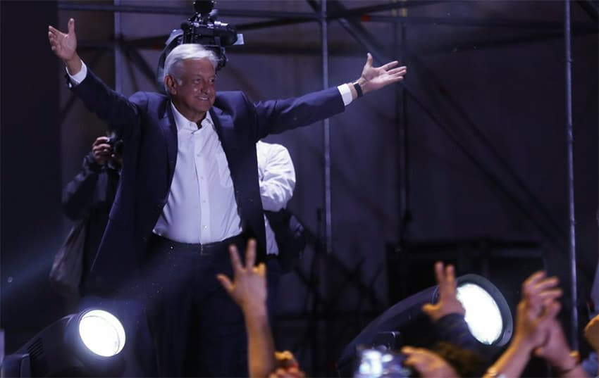 AMLO last night in the zócalo, with an adoring crowd.