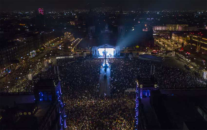 Thousands pack Mexico City's main square as Andrés Manuel López Obrador delivers his victory speech on July 1.