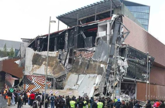Wreckage in today's collapse of part of a building in Mexico City.