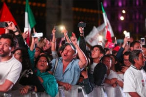 Crowds began gathering in downtown Mexico City earlier tonight to celebrate AMLO's win.