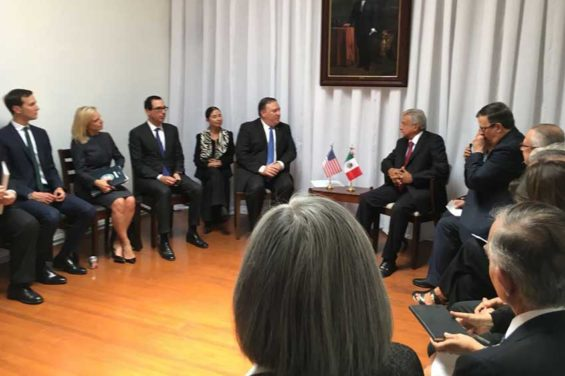 Today's meeting between López Obrador and US officials at the president-elect's campaign headquarters.