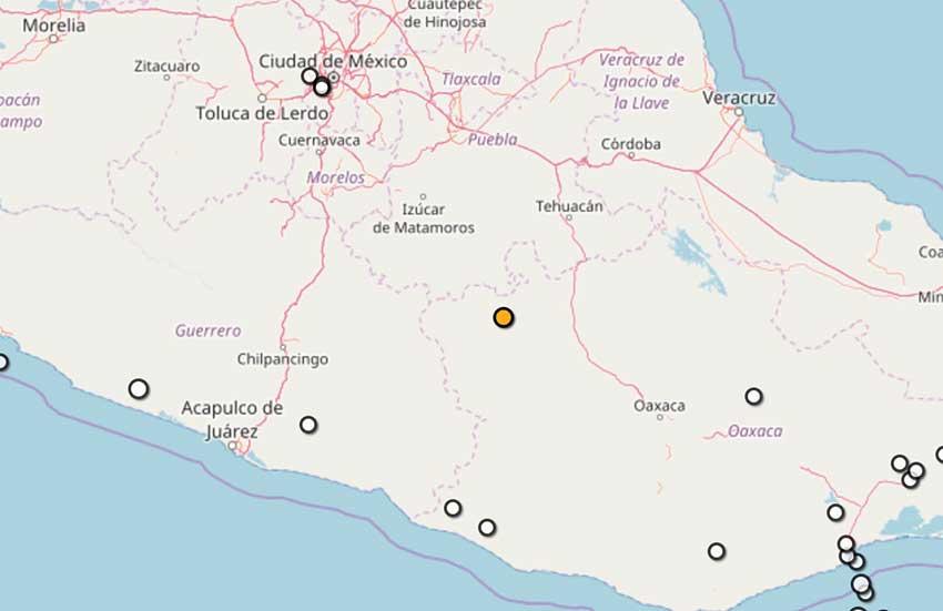 The quake's epicenter