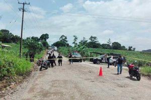 Scene of one of yesterday's attacks on police in Veracruz.