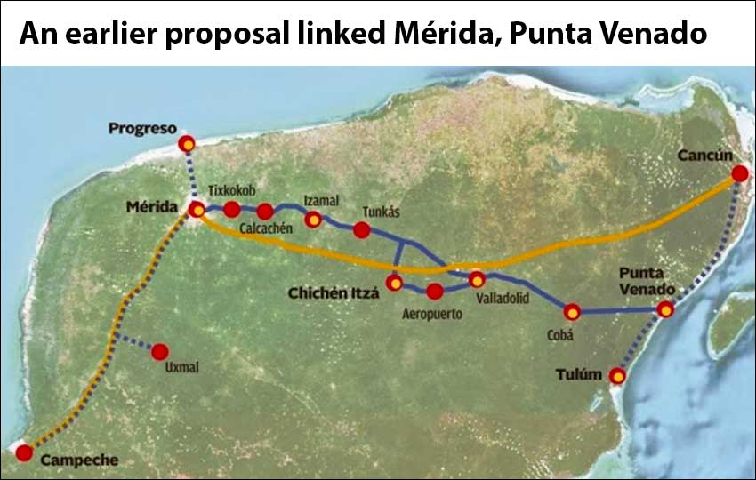 Solid blue indicates the route of an earlier train proposal