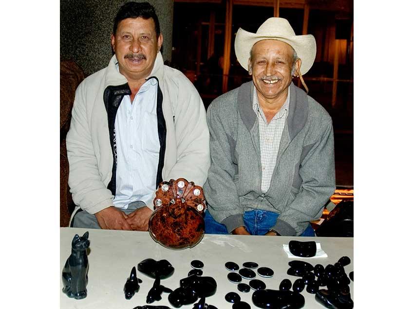 Obsidian artisans Manuel Suárez, left, and Eleno Espinoza.