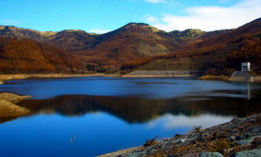 Upper reservoir or forebay of the Kazunogawa PHES facility in Japan.