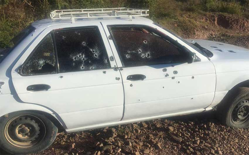 The vehicle that was ambushed yesterday in Oaxaca.