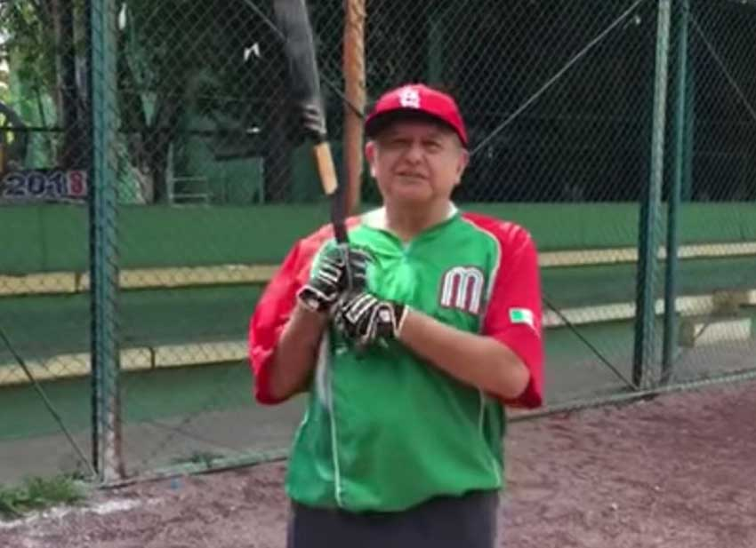 AMLO up to bat: president-elect López Obrador slips away for some baseball.