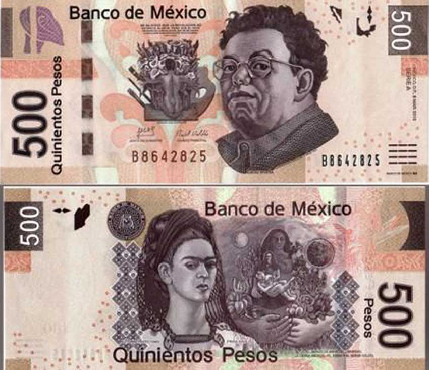 Rivera And Kahlo On The 500 Peso Banknote