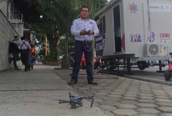 A police officer with one of Oaxaca's new drones.