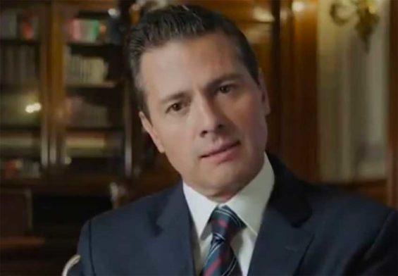 Peña Nieto gives his videotaped message.