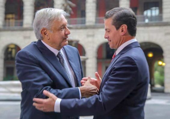 López Obrador, left and Peña Nieto met for a second time yesterday.