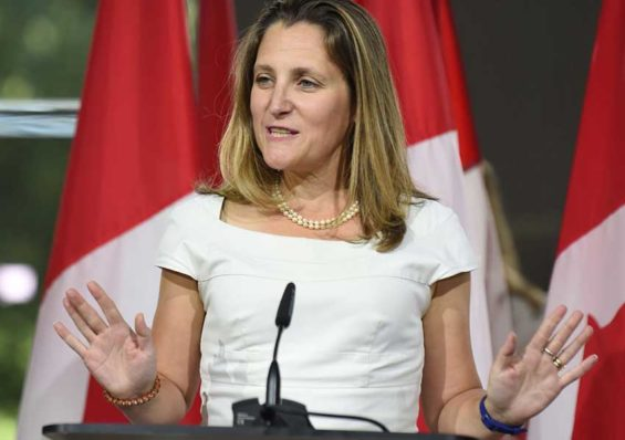 Canadian Foreign Minister Freeland at a press conference in Washington.