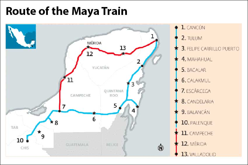 In blue is the first route that was announced. Red indicates the addition made this week