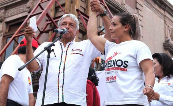 Ortiz and Morena party leader López Obrador during the election campaign.