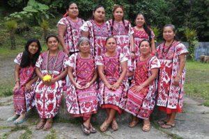 Rancho Grande women wearing their traditional huipiles.