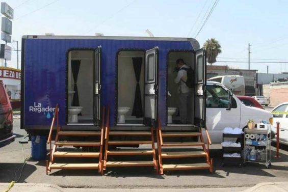 Tijuana's new mobile shower unit.
