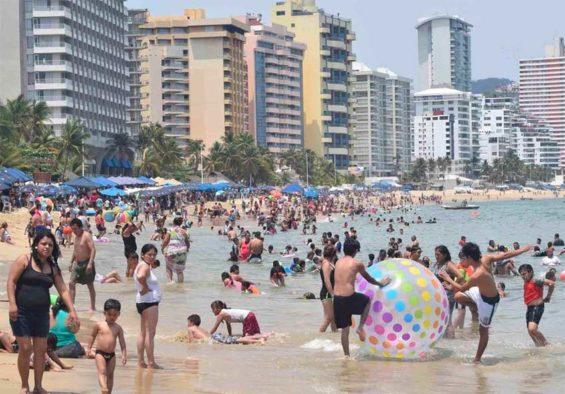 A busy beach in Mexico.
