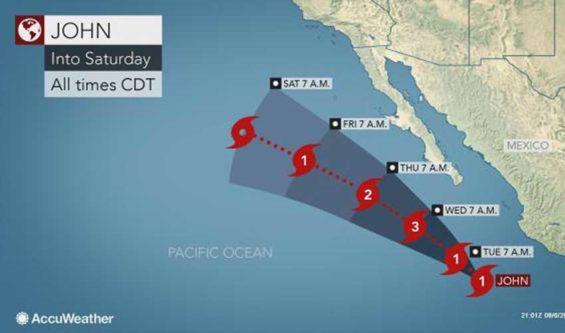 Hurricane John's forecast path.