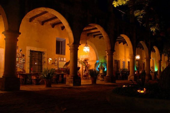 Arched porticos surround the courtyard.