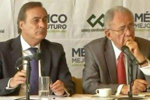 Castañón, left, and transportation secretary nominee Espriú at today's press conference.