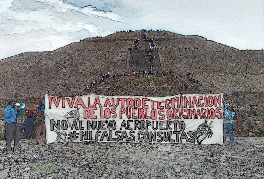 Airport opponents erected a sign in Teotihuacán on Sunday to voice their opposition.