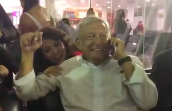 AMLO relaxes in the airport in Ciudad Obregón on Saturday.