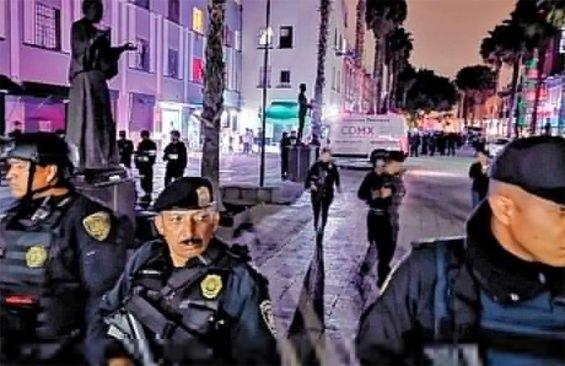 Strong police presence followed last night's shooting in Plaza Garibaldi.