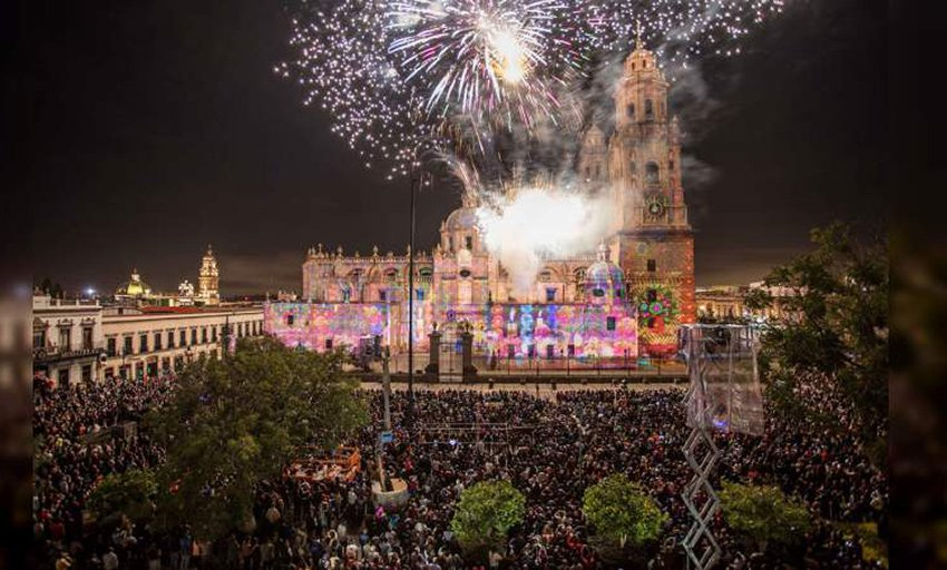 Saturday's 'grito' of independence in Morelia, Michoacán.