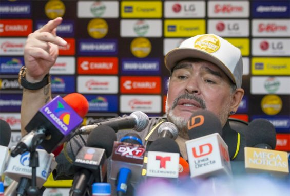 Soccer legend Diego Maradona speaks at a press conference in Culiacán.