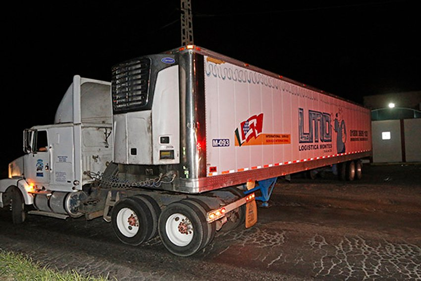 Morgue on the move: trailer carrying bodies was shuffled around a few times on the weekend.