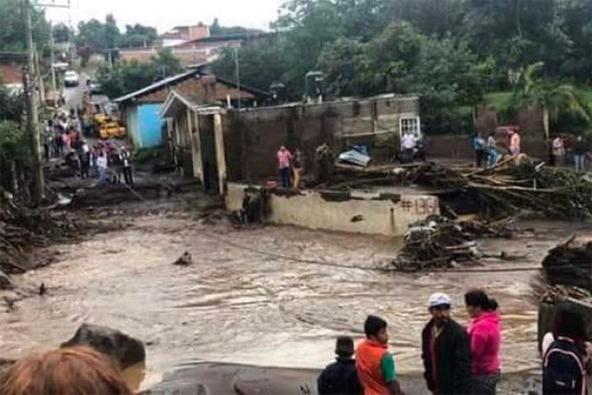 Flood damage in Peribán, Michoacán.