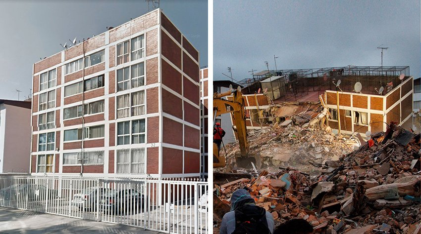 Before and after: there was no paperwork for this apartment building in Coyoacán.