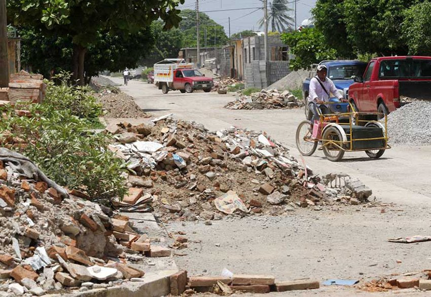 There is still earthquake rubble in the streets of Juchitán, Oaxaca.
