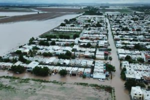 Aerial view of Los Mochis flooding.